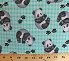 Flannel Panda Bears Cubs Paw Prints Checkered Comfy Cotton Flannel Fabric Print (0287-60)