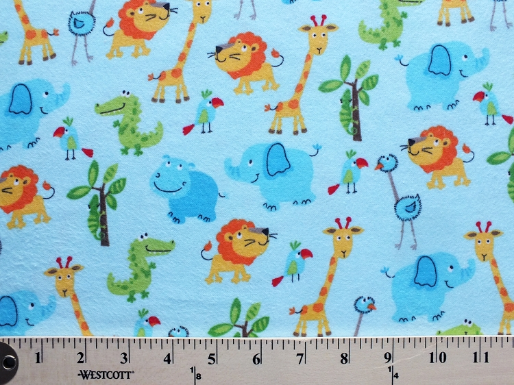 Flannel cute zoo animals on light blue kids flannel cotton for Animal print fabric for kids