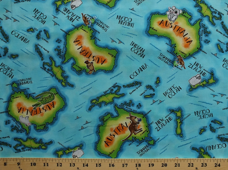 Cotton down under map australia new zealand islands pacific ocean cotton down under map australia new zealand islands pacific ocean animals cotton fabric print by the yard 05252 84 sciox Choice Image