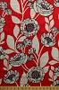 Cotton Large Poppies Poppy Flowers Field Floral Leaves Vines Tempo Red White Cotton Fabric Print by the Yard (05592-10)