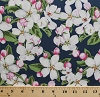 Cotton Apple Blossoms Flowers Floral Pink White Blooms Botanical Leaves Michigan Floral Vignettes State Flowers II Blue Cotton Fabric Print by the Yard (120-4141)
