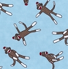 Toy Sock Monkey Funky Monkeys on Turquoise Flannel Cotton Fabric Print (15071-16f)