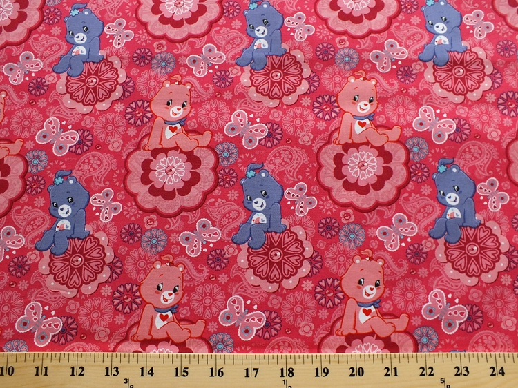 Cotton care bears characters purple pink paisleys hearts for Childrens cotton fabric by the yard
