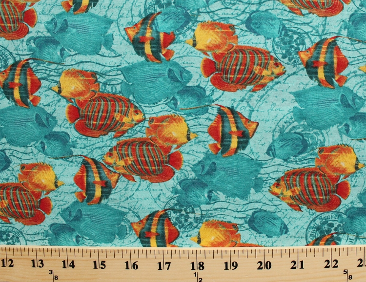 Cotton fish fishes nautical ocean sea fishing aquatic blue for Fish fabric by the yard