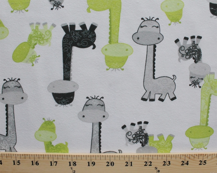 Flannel giraffes giraffe kids safari animals green black for Childrens cotton fabric by the yard