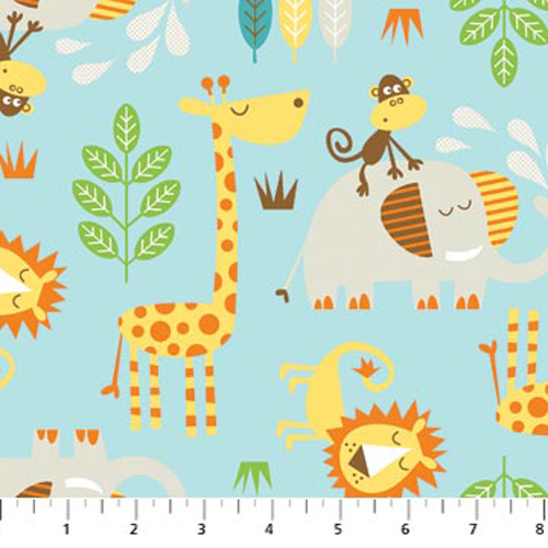 Cotton lion monkey giraffe elephant leaves branches safari for Childrens cotton fabric by the yard