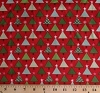 Christmas Trees Small XmasTree Stars on Red Cotton Fabric Print by the Yard (27122 11)