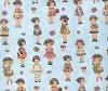 Windham Paper Dolls Cotton Fabric Print - Blue (28118-2)