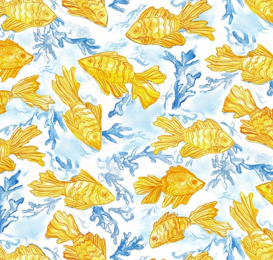 Cotton goldfish fish coral seaweed water ocean sea for Fish fabric by the yard