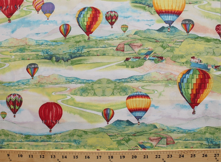 Cotton up in the air cotton hot air balloons river for Airplane print cotton fabric