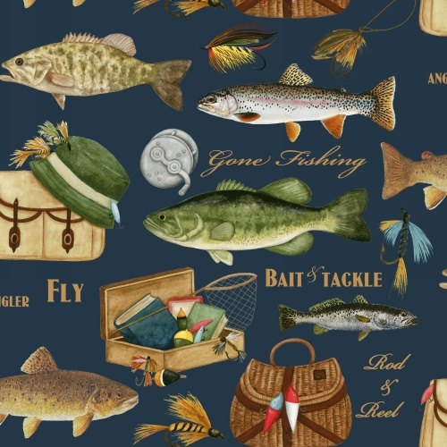 velvafleece gone fishing fish fleece fabric print by the