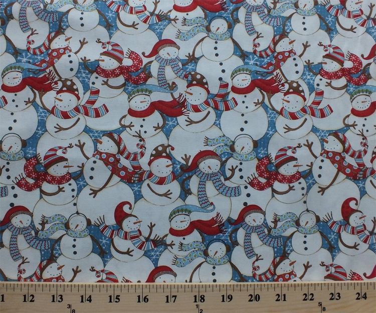 Cotton snowman packed snowmen snowflakes snow winter for Childrens cotton fabric by the yard