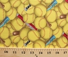 Cotton Sports Fastpitch Softball Softballs Bats Packed Yellow Cotton Fabric Print by the Yard (426-yellow)
