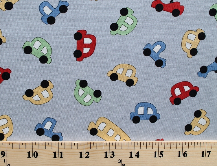 Cotton vintage play toy cars vehicles gray cotton fabric for Vintage childrens fabric prints