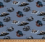 Cotton Jeeps® Jeep® Wranglers Renegade Rubicon Off-Road Vehicles Cars Transportation SUVs Sports Utility Vehicles on Blue Cotton Fabric Print by the Yard (c6470-blue)