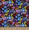 Cotton Lovely Pansies Pansy Flowers Floral Packed Multi Cotton Fabric Print by the Yard (475-multi)