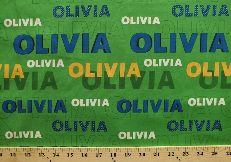 Cotton olivia book character name title words print font for Children s character fabric