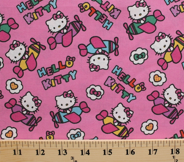 Cotton hello kitty airplanes flying hearts bows kids for Airplane print cotton fabric