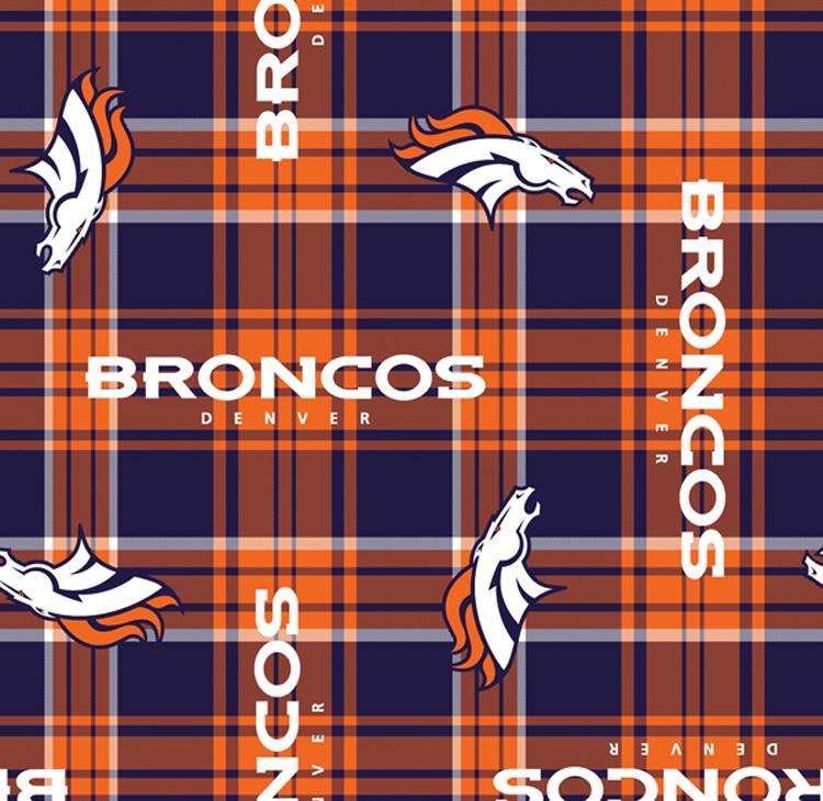 Fleece Denver Broncos Plaid NFL Football Fleece Fabric Print