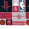 Cotton Houston Rockets NBA Basketball Squares Cotton Fabric Print by the Yard