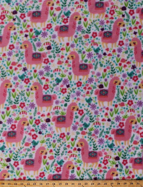 Fleece como se llama llamas flowers herd animal floral for Children s flannel fabric by the yard
