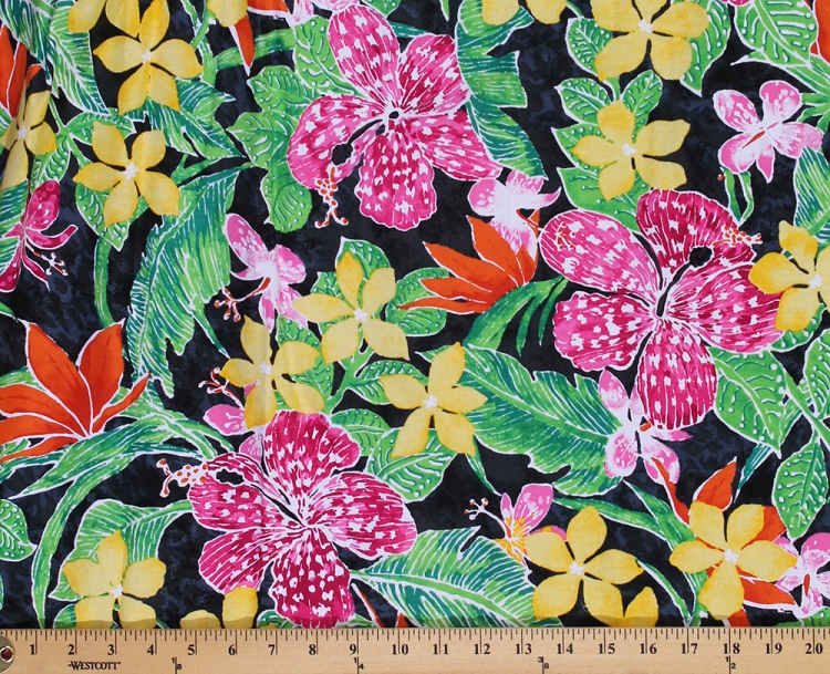 Primary Painted Flowers Fabric By The Yard