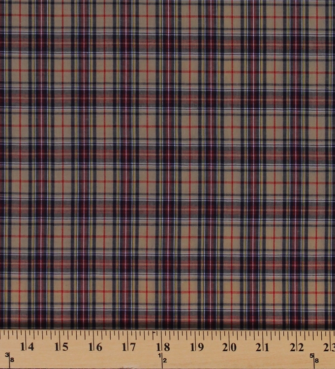 Tartan Plaids Gordon Polyester Cotton Tan Red Blue Yellow White ...