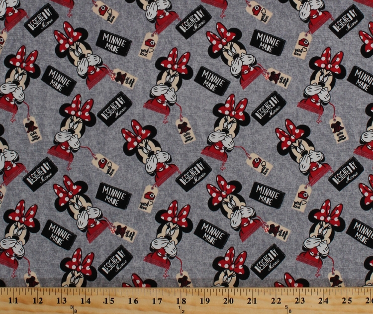 Designed By Minnie Mouse with Love Red Grey Cotton Spandex Knit ...