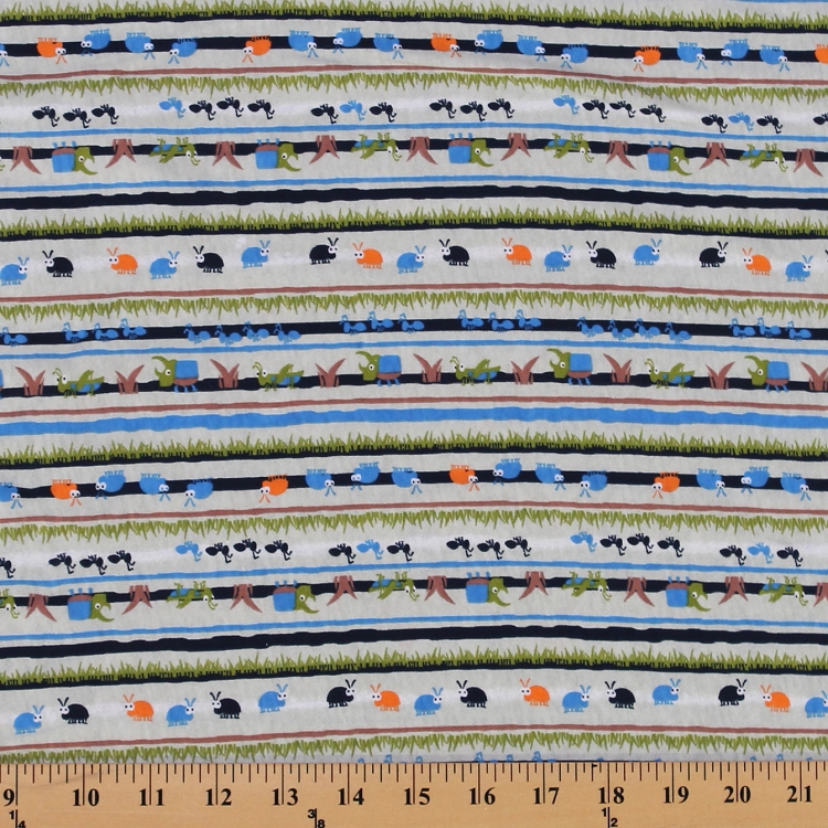 Cotton knit bugs ants stripes grass outdoors kids print by for Childrens cotton fabric by the yard