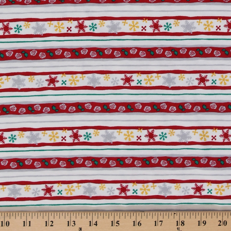 Cotton knit winter flowers snowflakes roses stripes print for Space dye knit fabric by the yard