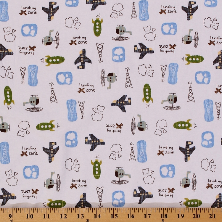 Cotton knit airplanes rockets helicopters clouds kids for Childrens cotton fabric by the yard