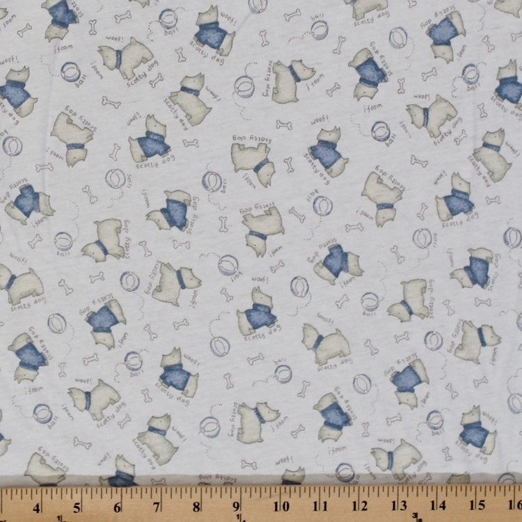 Cotton knit scotty dog puppies bone and ball fabric by the for Childrens cotton fabric by the yard