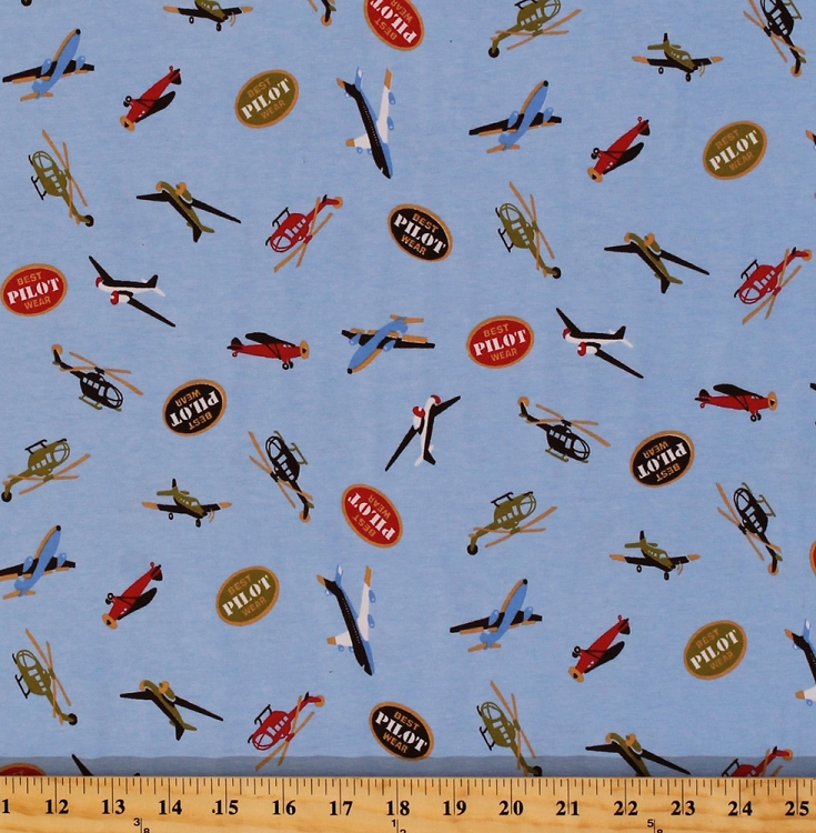 Cotton lycra blend jersey aviation airplane airplanes for Airplane print cotton fabric