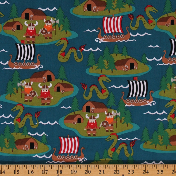 Cotton vikings pirates dragons monsters ocean cartoon for Childrens cotton fabric by the yard