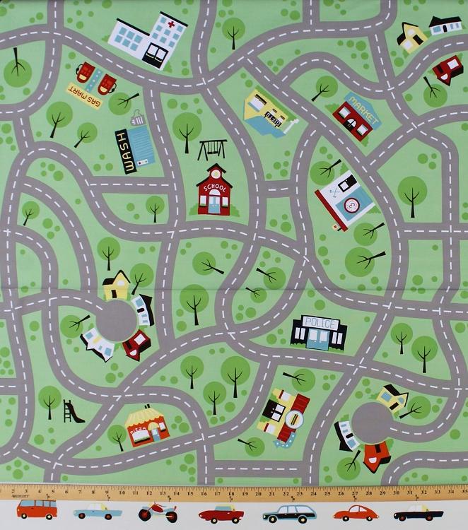 X Panel Canvas Roadmap Kids Cars Roads Maps Canvas Cotton - Kids road map