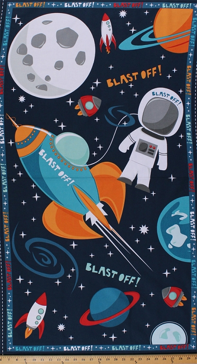 24 x 44 panel blast off astronaut astronauts space moon for Space fabric panel