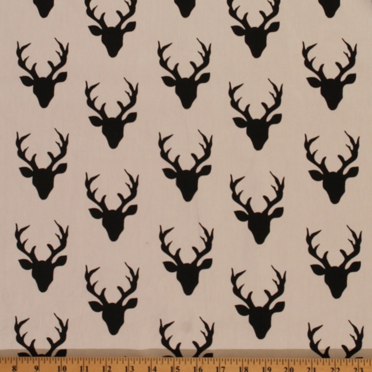 Cotton Hello Bear Buck Forest Deer Head Silhouette Cotton