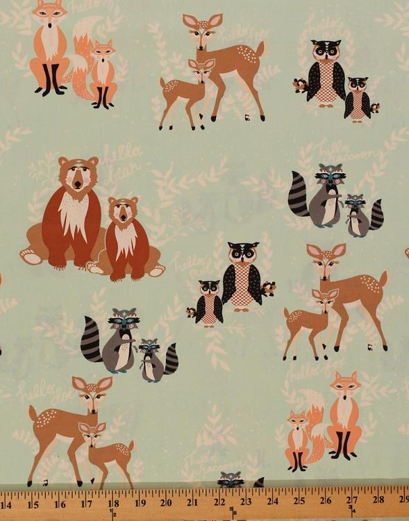 Cotton hello bear forest animals deer doe fox raccoon owl for Fox print fabric