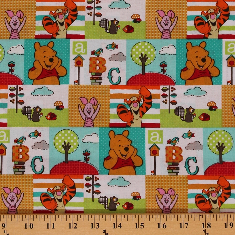 Cotton character patch winnie the pooh tigger piglet abcs for Kids character fabric