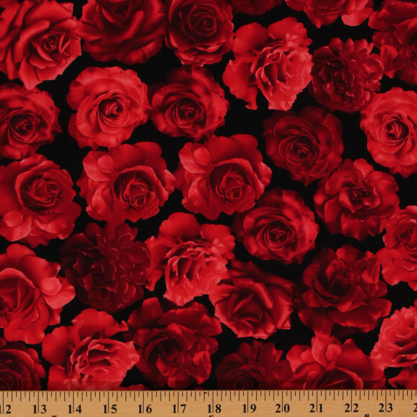 Cotton Red Roses Blooms Flowers Black Valentine S Floral