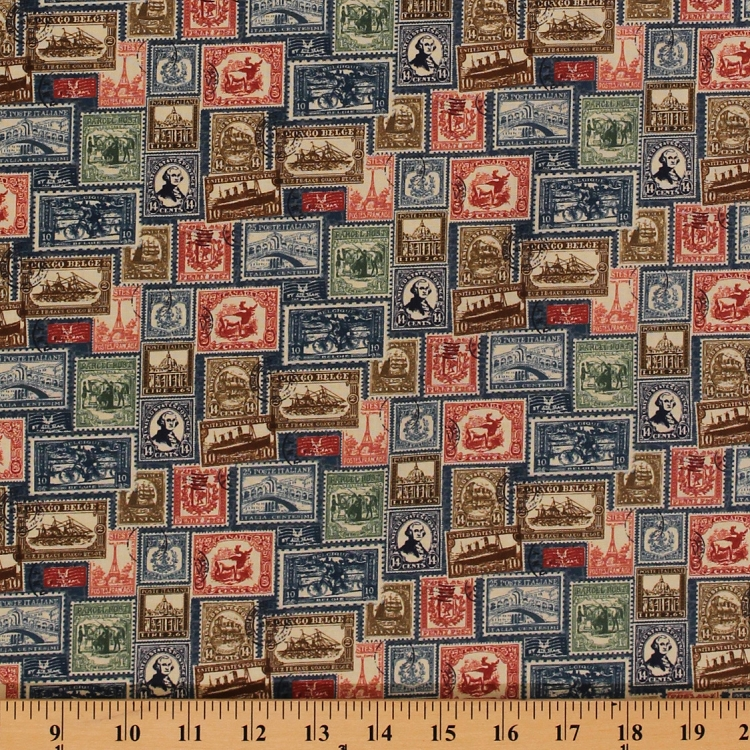 Cotton vintage travel postage stamps antique blue cotton for Vintage childrens fabric by the yard