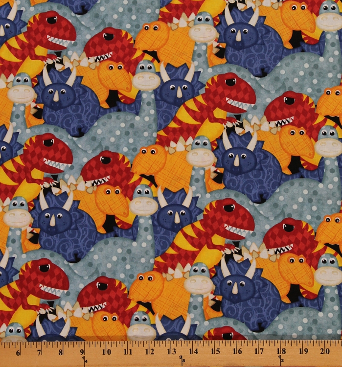 Cotton have you seen my dinosaur kids cotton fabric print for Childrens cotton fabric by the yard