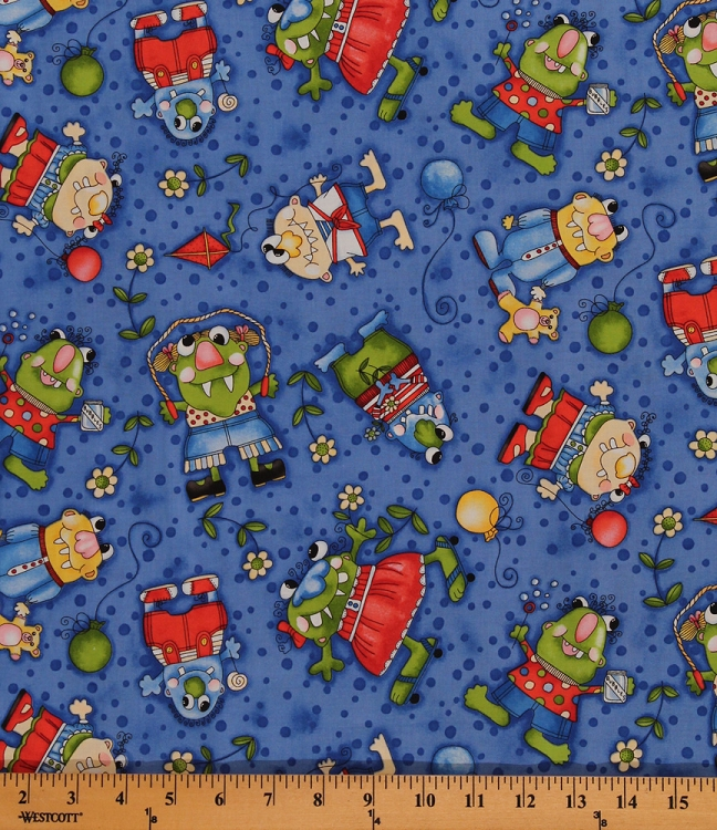 Cotton lil 39 monster friends kids cotton fabric print by for Vintage childrens fabric by the yard