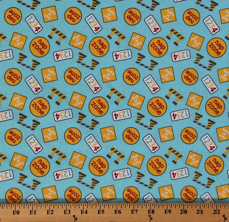 Cotton baby construction zone signs numbers nap cotton for Baby fabric by the yard