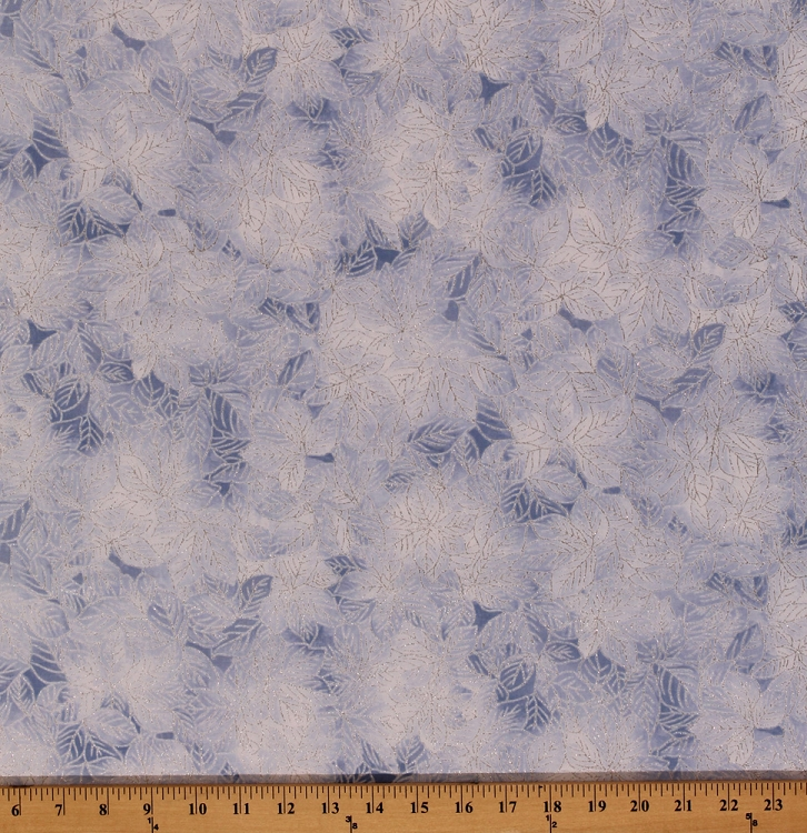 Cotton Crystal Leaf Winter Leaves Silver Glitter Ice Blue ...