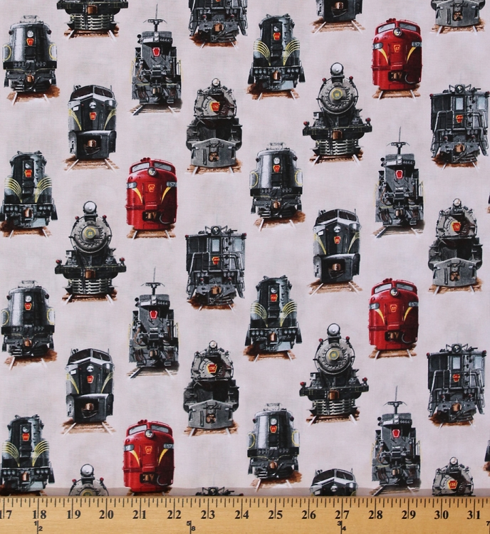 Cotton all aboard trains train railway locomotive engine for Train print fabric