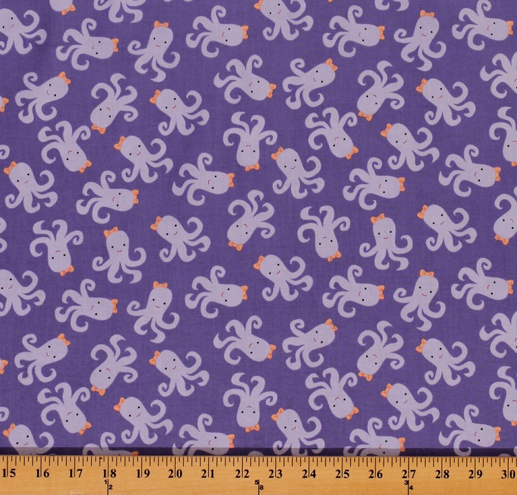 Cotton cute octopuses bows ocean sea animals bay breeze for Animal print fabric for kids