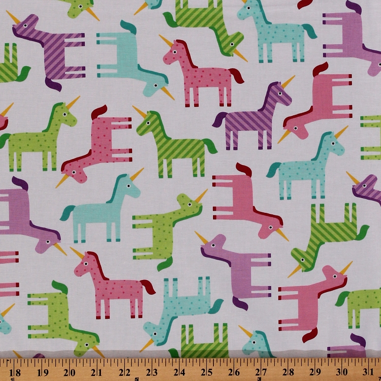 Cotton unicorn unicorns ponies animals pink blue green for Animal print fabric for kids