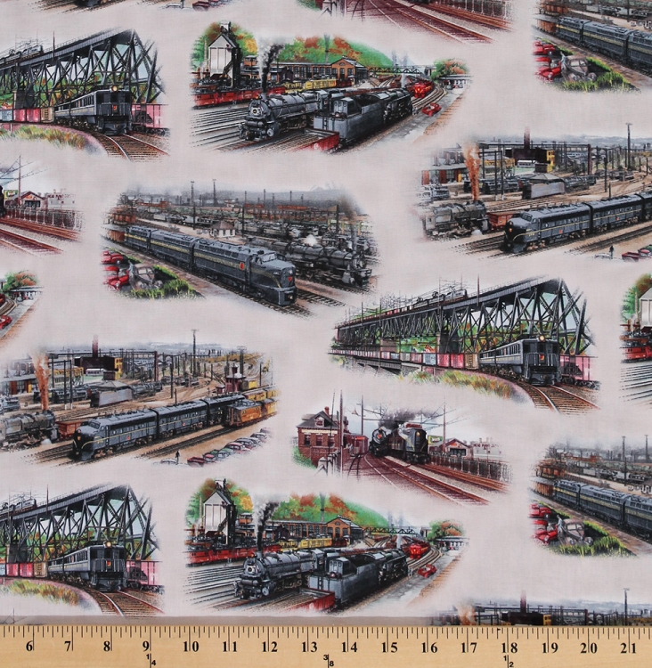 Cotton all aboard trains train railway travel wanderlust for Train print fabric