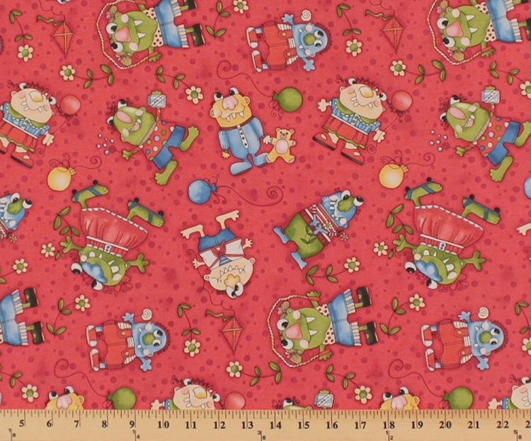 Cotton monsters playing flowers toys bubbles jump ropes for Childrens cotton fabric by the yard